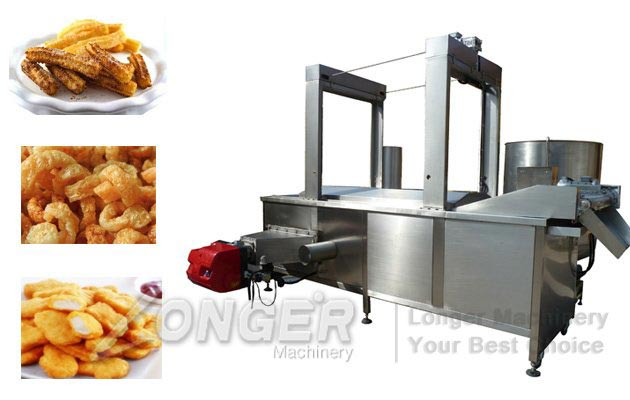 Pork Rinds Continuous Fryer Machine|Industrial Pork Skin Frying Equpment