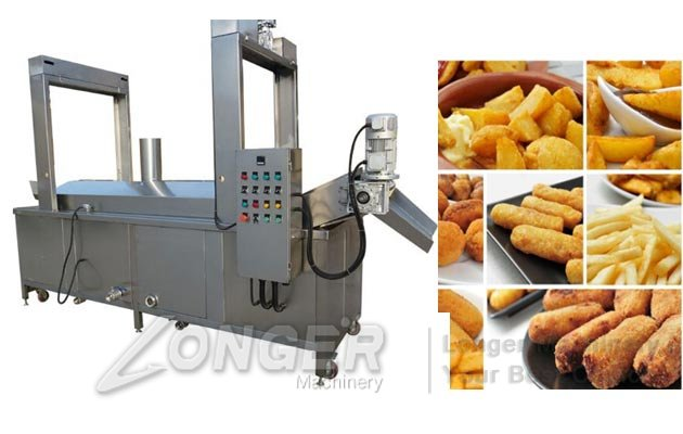 Automatic Continuous Snacks Chips Namkeen Fryer Machine With Conveyor
