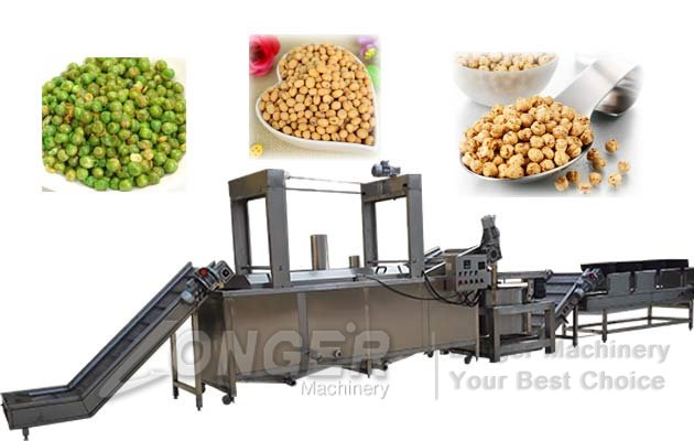Fried Peanut Processing Line|Green Beans Peas Frying Machine Line