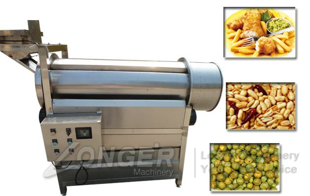 Single Drum Chips Snacks Flavouring Machine|Fries Nuts Seasoning Machine