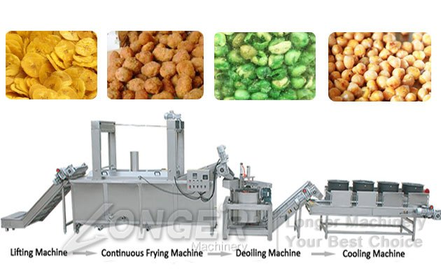 Fried Peanuts Processing Line|Green Beans Peas Frying Machine Line
