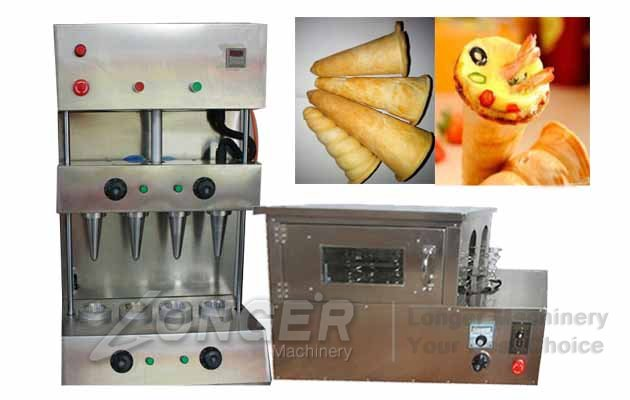 pizza cones with baking oven machine